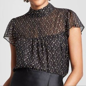 A New Day Black Gold Flutter Sleeve Blouse